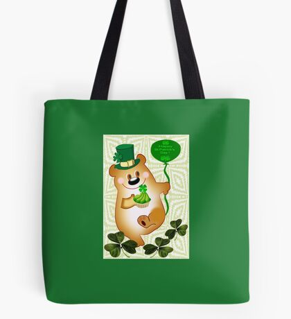 Teddy With St. Patrick's Greeting (1830 Views) Tote Bag