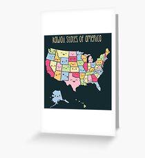 Kawaii States of America Greeting Card