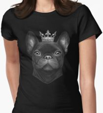 Queen French bulldog on black Women's Fitted T-Shirt