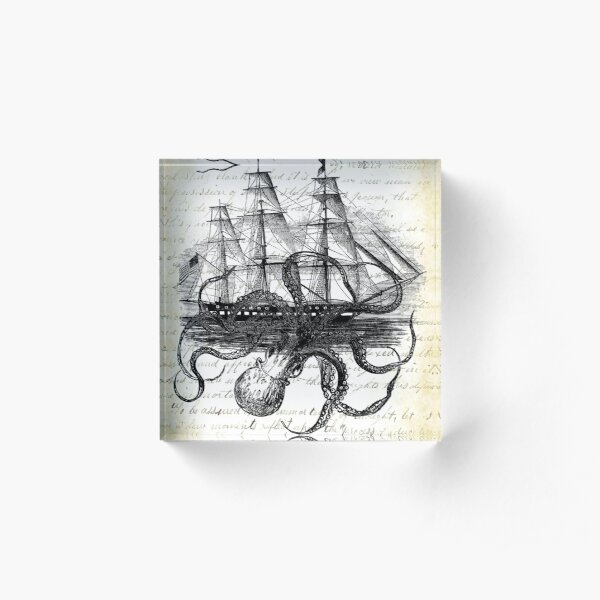 Kraken Octopus Attacking Ship on light journal  Acrylic Block