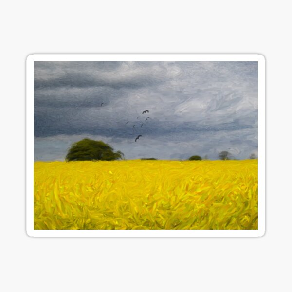 Rapeseed Fields - Impressionist - Oil Painting Effect Sticker