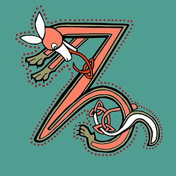 Celtic Fox Letter Z by Donnahuntriss