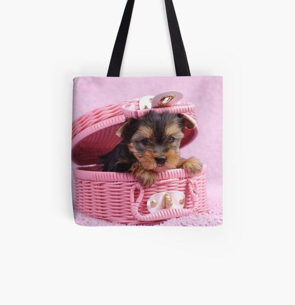 Pink yorkie All Over Print Tote Bag