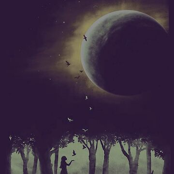 girl in moonlight dark forest by 2jDUBCrastions1