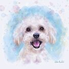 Watercolor Portrait of a Maltese Dog in Light Blue Background by ibadishi