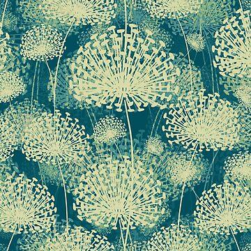 Dandelions vintage blue by BessoChicca