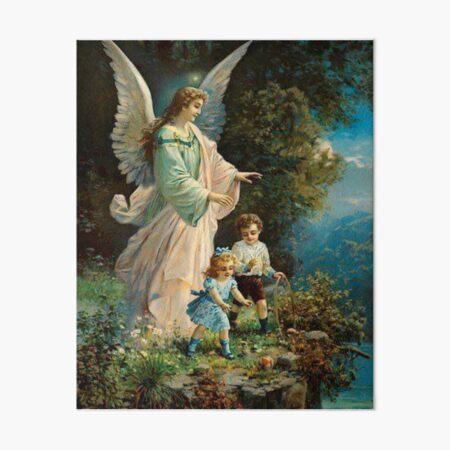 Guardian Angel watching over Kids Nursery Gift Art Board Print