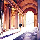 """""""Farewell"""" Louvre Museum in Paris Watercolor by Paul Jackson"""