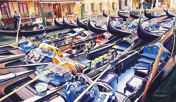 """Valet Parking"" Gondolas Watercolor by Paul Jackson"