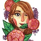 Grapes and roses watercolour portrait by Wieskunde