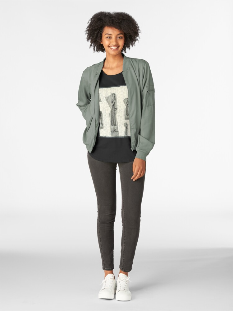 Alternate view of Fashion Illustration Girl Wearing a Midi Skirt Premium Scoop T-Shirt