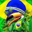 Toco Toucan on Brazil Flag by BluedarkArt