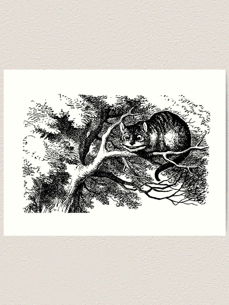 Alice In Wonderland The Cheshire Cat Black And White Kitty Art Print By Tanabe Redbubble