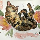 cat rolling with florals watercolor by Wieskunde