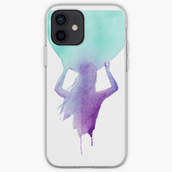 Surfer Girl Heading Out, Surf Art, Surfboard in Purple and Blue iPhone Soft Case