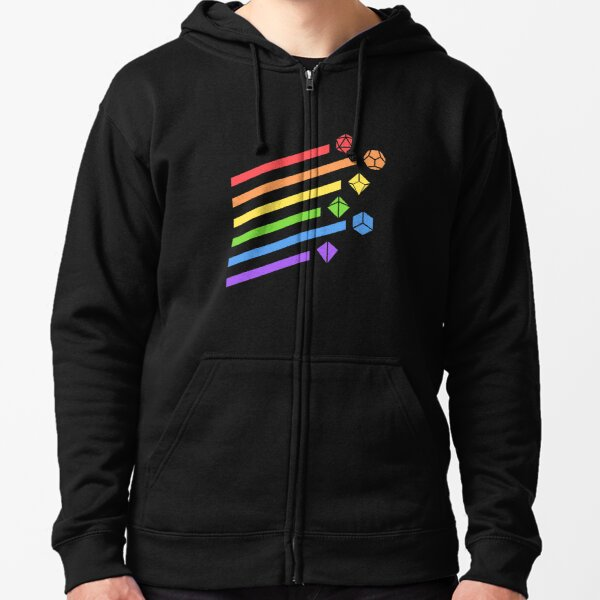 Rainbow Dice Set Tabletop RPG Gaming Zipped Hoodie