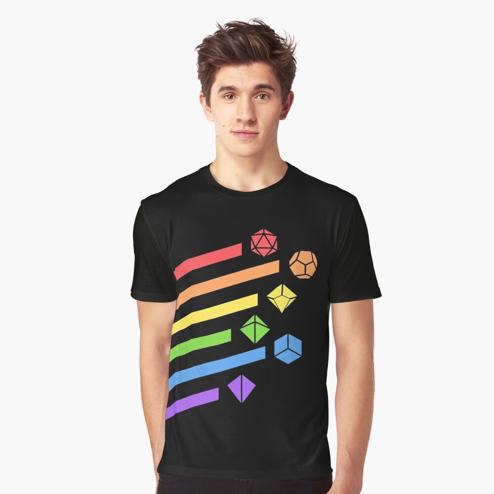 Rainbow Dice Set Tabletop RPG Gaming Graphic T-Shirt Front
