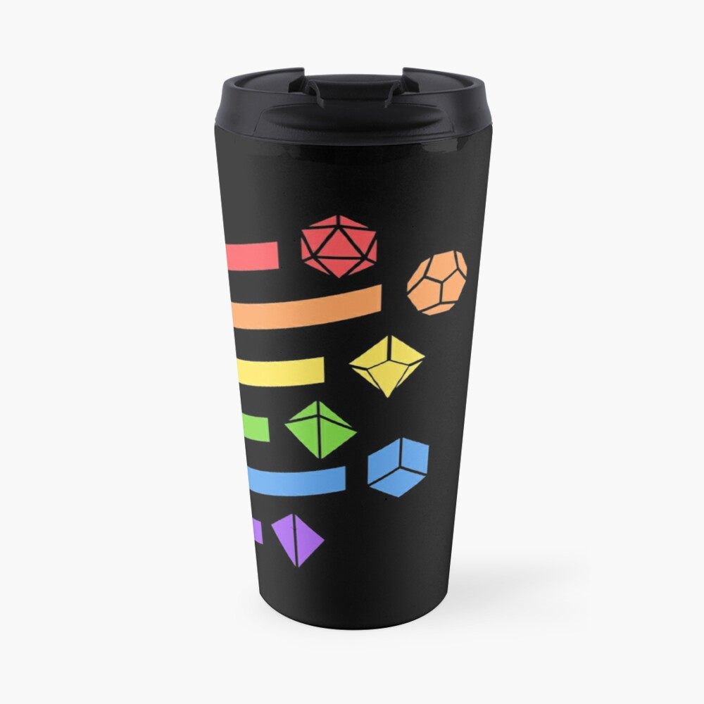 Rainbow Dice Set Tabletop RPG Gaming Travel Mug