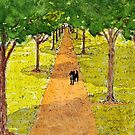 Dog Underneath the Shadow of Trees by danvera