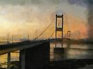 Old Severn Crossing sunset, toward Wales by David Carton