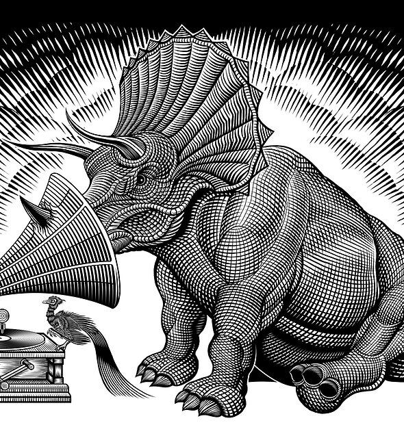Triceratops and phonograph by Matt Curtis