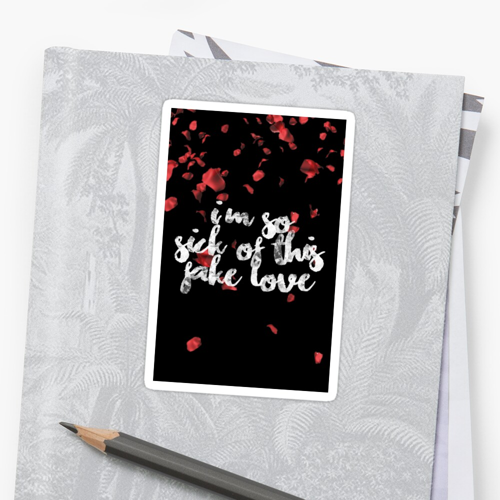 Bts Fake Love Lyrics Quote Stickers By Ksection Redbubble