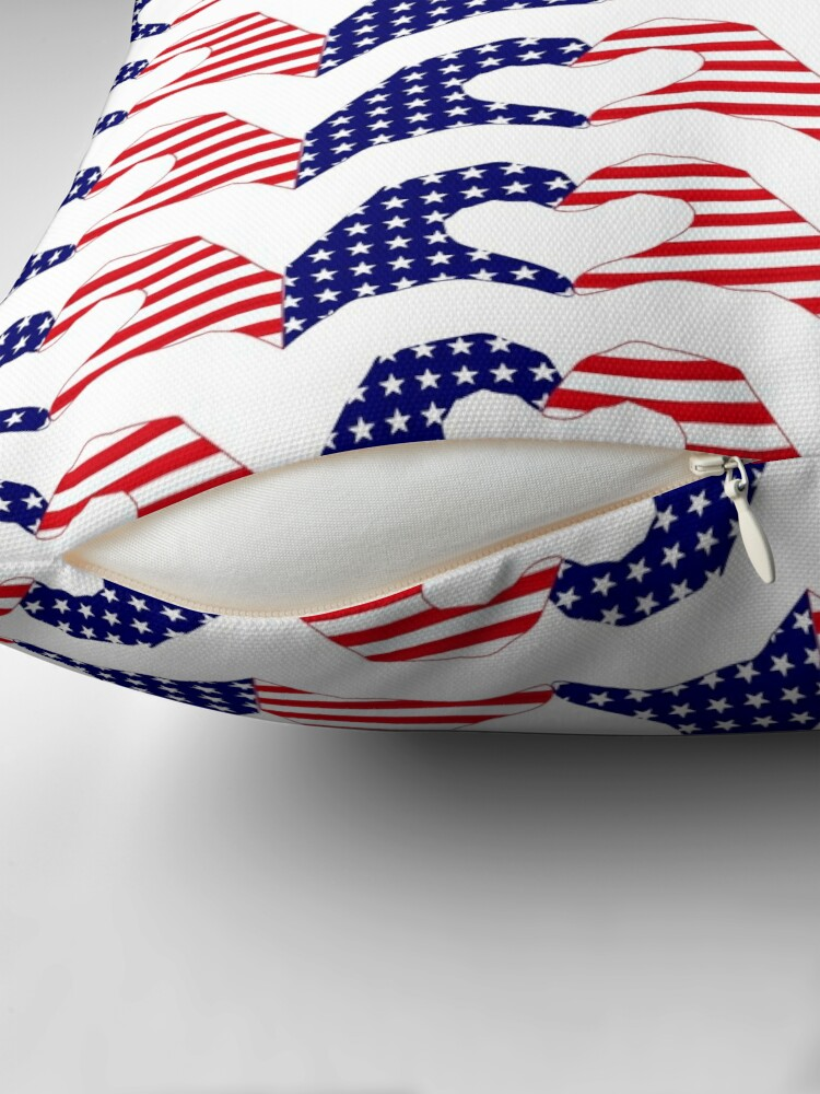 Alternate view of We Heart the United States of America Patriot Series Throw Pillow