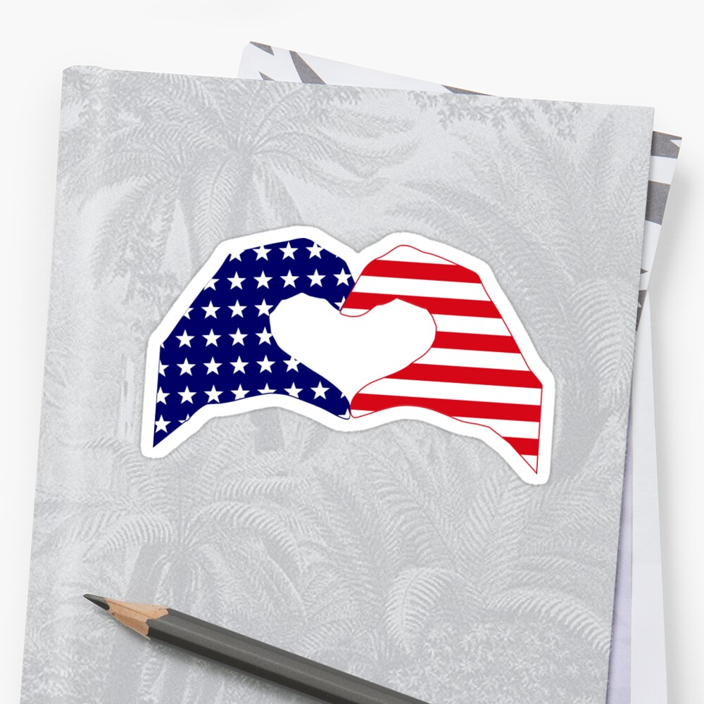 We Heart the United States of America Patriot Series Sticker