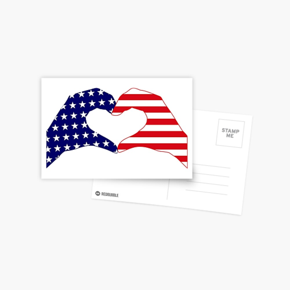 We Heart the United States of America Patriot Series Postcard