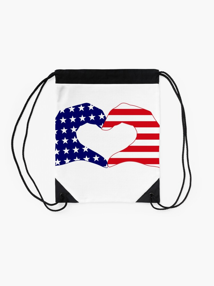 Alternate view of We Heart the United States of America Patriot Series Drawstring Bag
