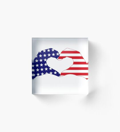 We Heart the United States of America Patriot Series Acrylic Block