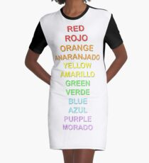 Bilingual Rainbow Graphic T-Shirt Dress