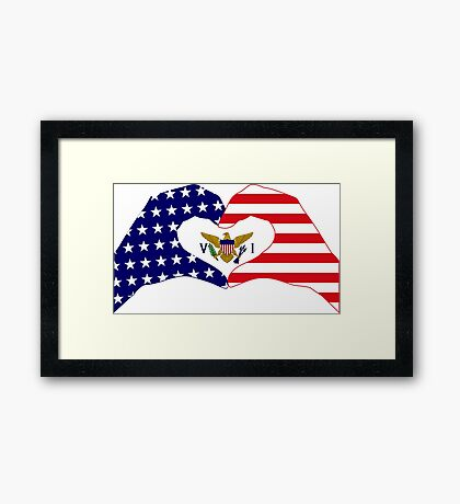 We Heart U.S. Virgin Islands Patriot Series Framed Print