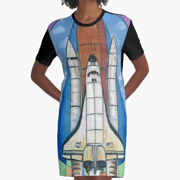 Mid Century Modern Space Shuttle Graphic T-Shirt Dress