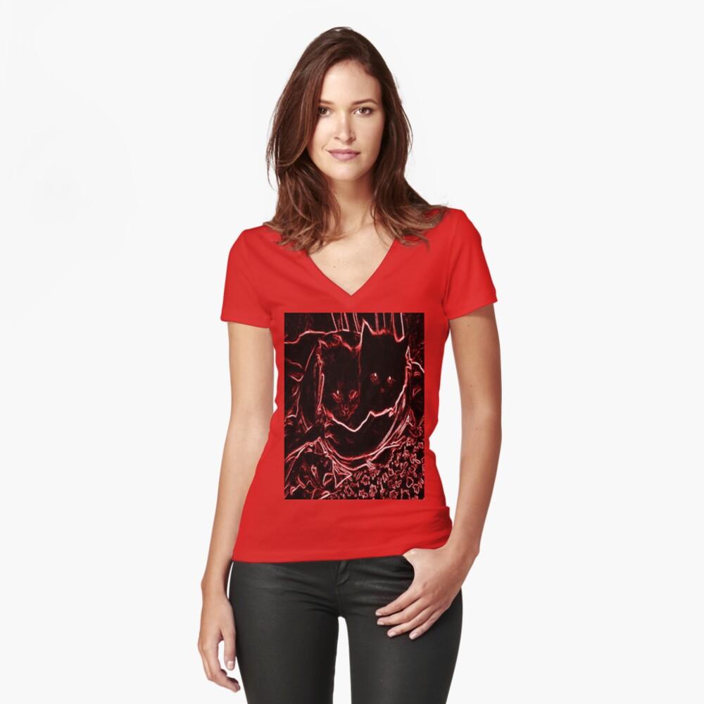 Kittens Design Women's Fitted V-Neck T-Shirt Front