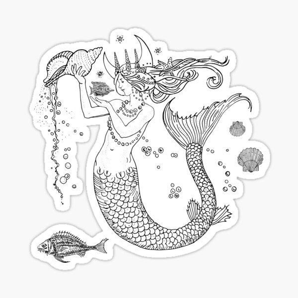 Mermaid princess black and white  Sticker