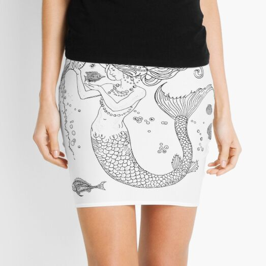 Mermaid princess black and white  Mini Skirt