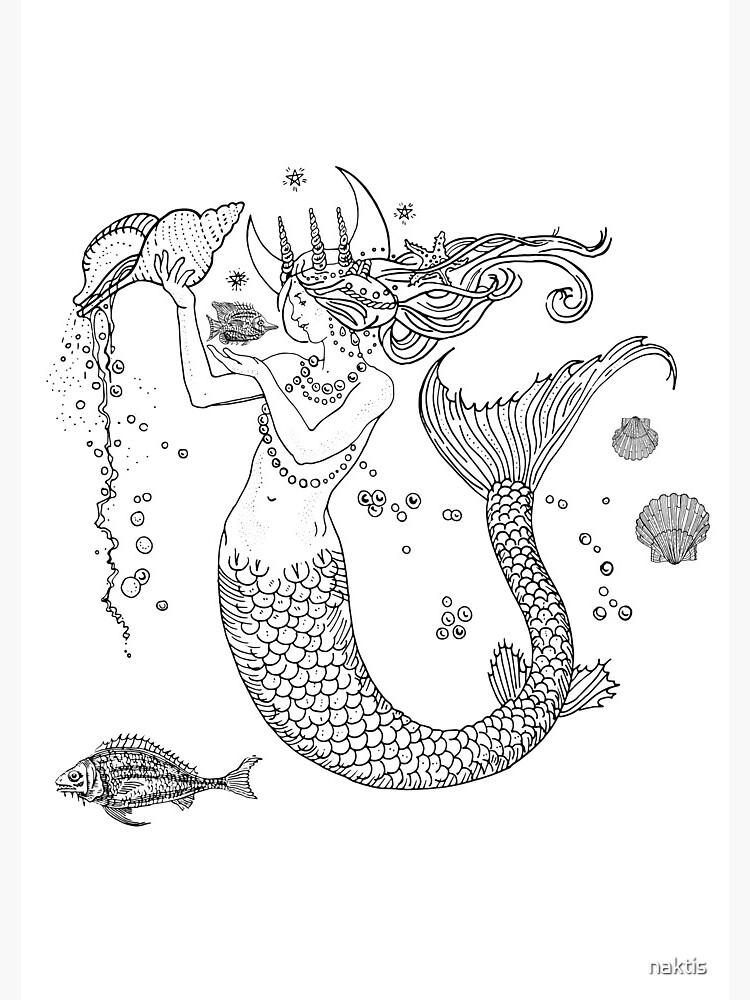 Mermaid princess black and white  by naktis