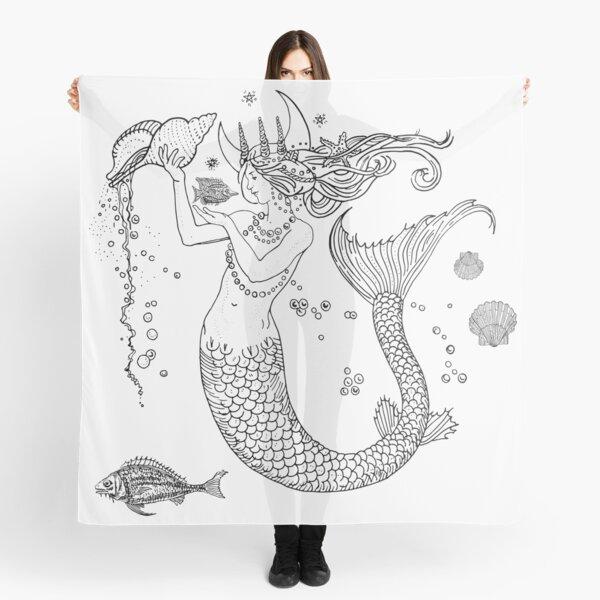 Mermaid princess black and white  Scarf