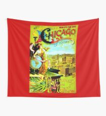 """""""CHICAGO WORLDS FAIR"""" Vintage (1893) Advertising Print Wall Tapestry"""