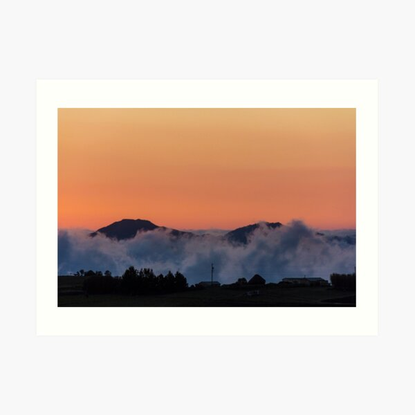 Orange sunset with mountain silhouette in clouds, Gulahuayco, Ecuador Art Print