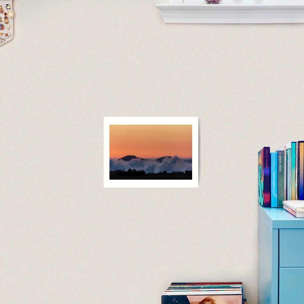 Orange sunset with mountain silhouette in clouds, Gulahuayco, Ecuador Art Print
