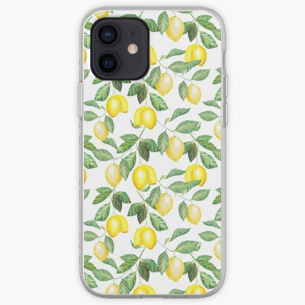 Modern green yellow watercolor lemon summer fruit iPhone Soft Case