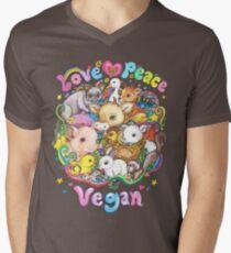 Love, Peace, Vegan V-Neck T-Shirt