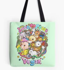Love, Peace, Vegan Tote Bag