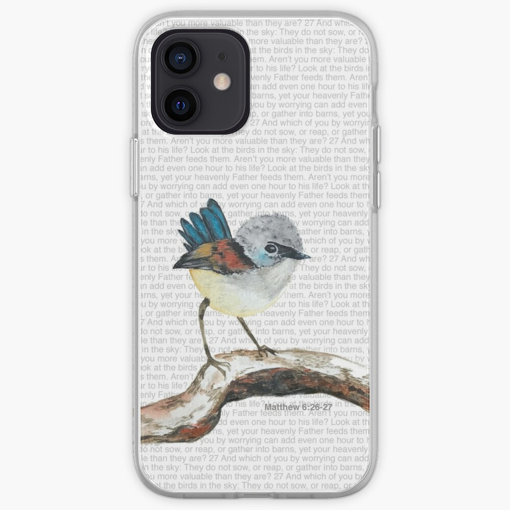 Don't worry, bird watercolor / Matthew 6:26-27 iPhone Case & Cover