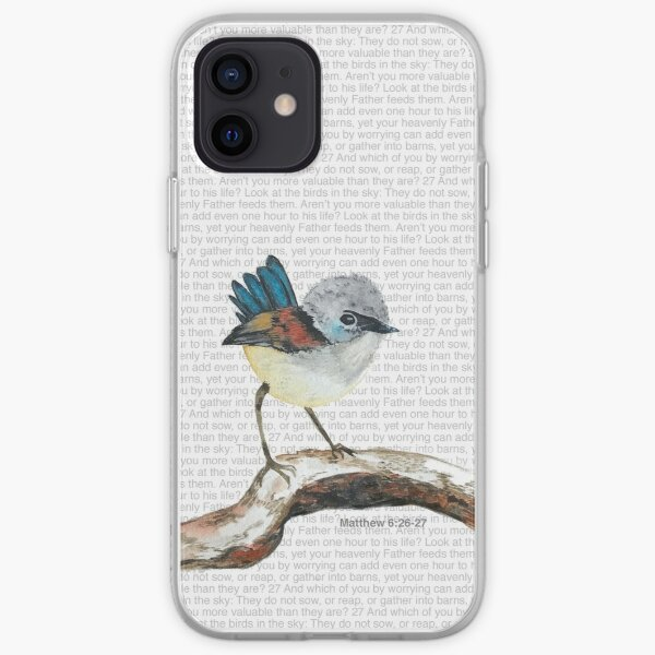 Don't worry, bird watercolor / Matthew 6:26-27 iPhone Soft Case