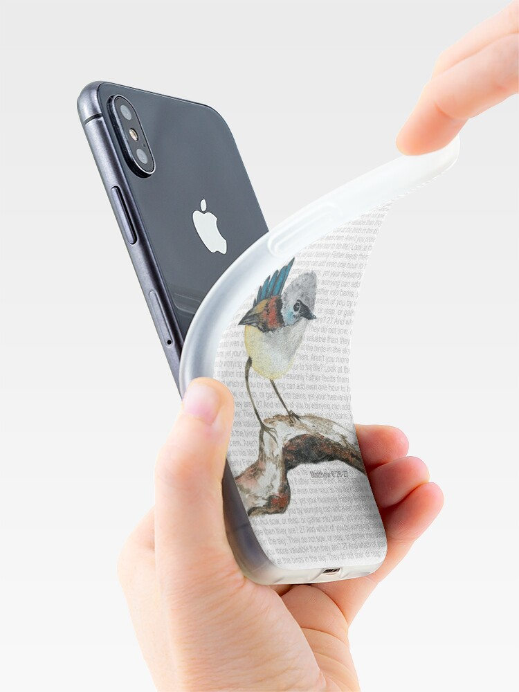 Alternate view of Don't worry, bird watercolor / Matthew 6:26-27 iPhone Case & Cover