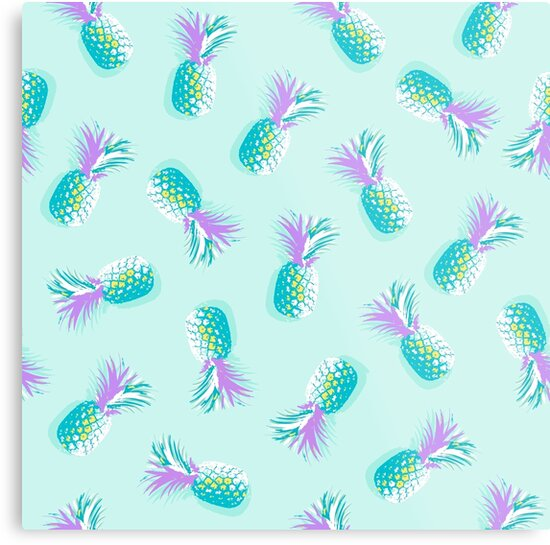Tropical Pineapple Pattern - Aqua blue and Violet by Dominiquevari