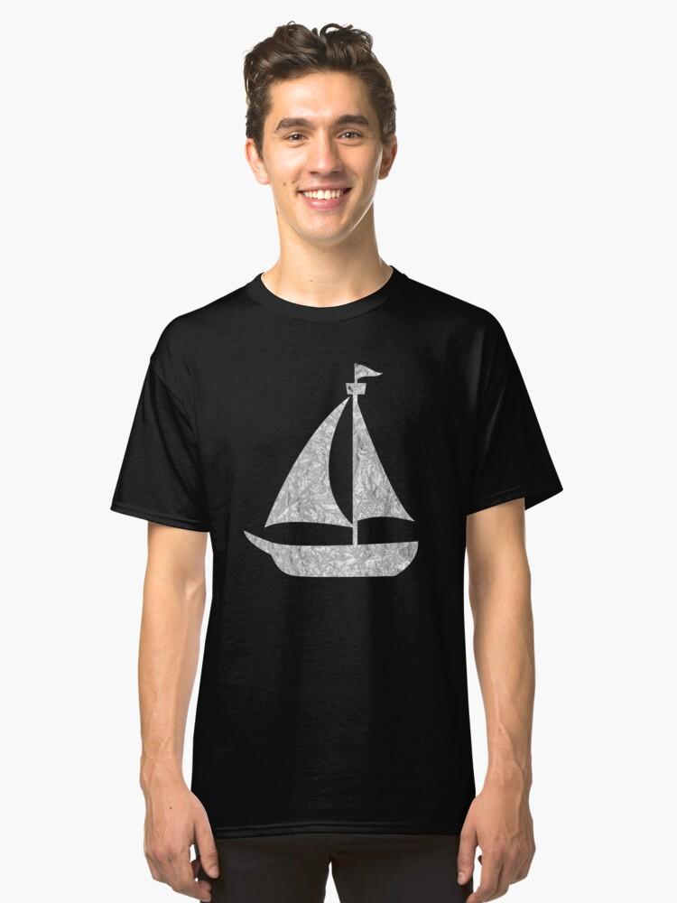 Sailboat Silver Design Classic T-Shirt Front